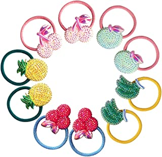 Hair ties for Girls, Cute Elastic Hair Bands Glitter Sequins Hair Accessories for Toddlers Kids Girls(10 PCS)