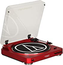 Audio-Technica AT-LP60RD-BT Fully Automatic Bluetooth Wireless Belt-Drive Stereo Turntable, Red