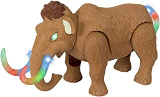 Liberty Imports Electronic Walking and Moving Woolly Mammoth Prehistoric Ice Age Animal Figure Toy Elephant with Lights and Sounds
