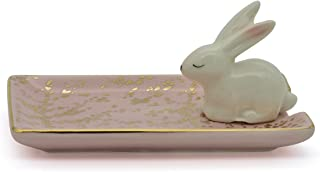 Exembe Bunny Inspiration Earring Tray Trinket Ring Dish Ceramic Jewely Holder Pink/White
