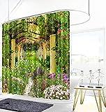 N / A Cortina de Ducha de jardín 3D Belleza Cortina de baño de Flujo de bambú Natural Espesa Cortina de Ducha Espesa Impermeable y a Prueba de Moho A3 180x200cm