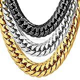 U7 Steel Jewelry 12MM Wide Men Chunky Necklace Black Gun Plated Chain 26'
