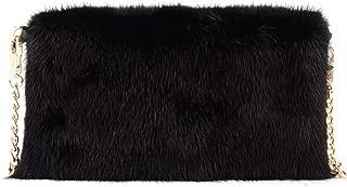 Anita Bilardi Woman's Anita Bilardi Black Mink Clutch Black