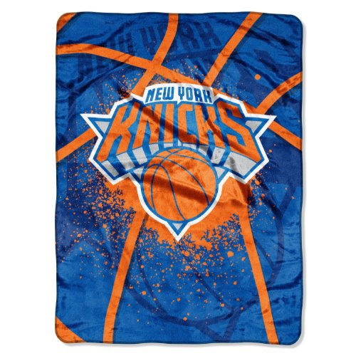New York NY Knicks NBA Shadow Play Raschel Royal Plush 60x80 Twin Throw Blanket image