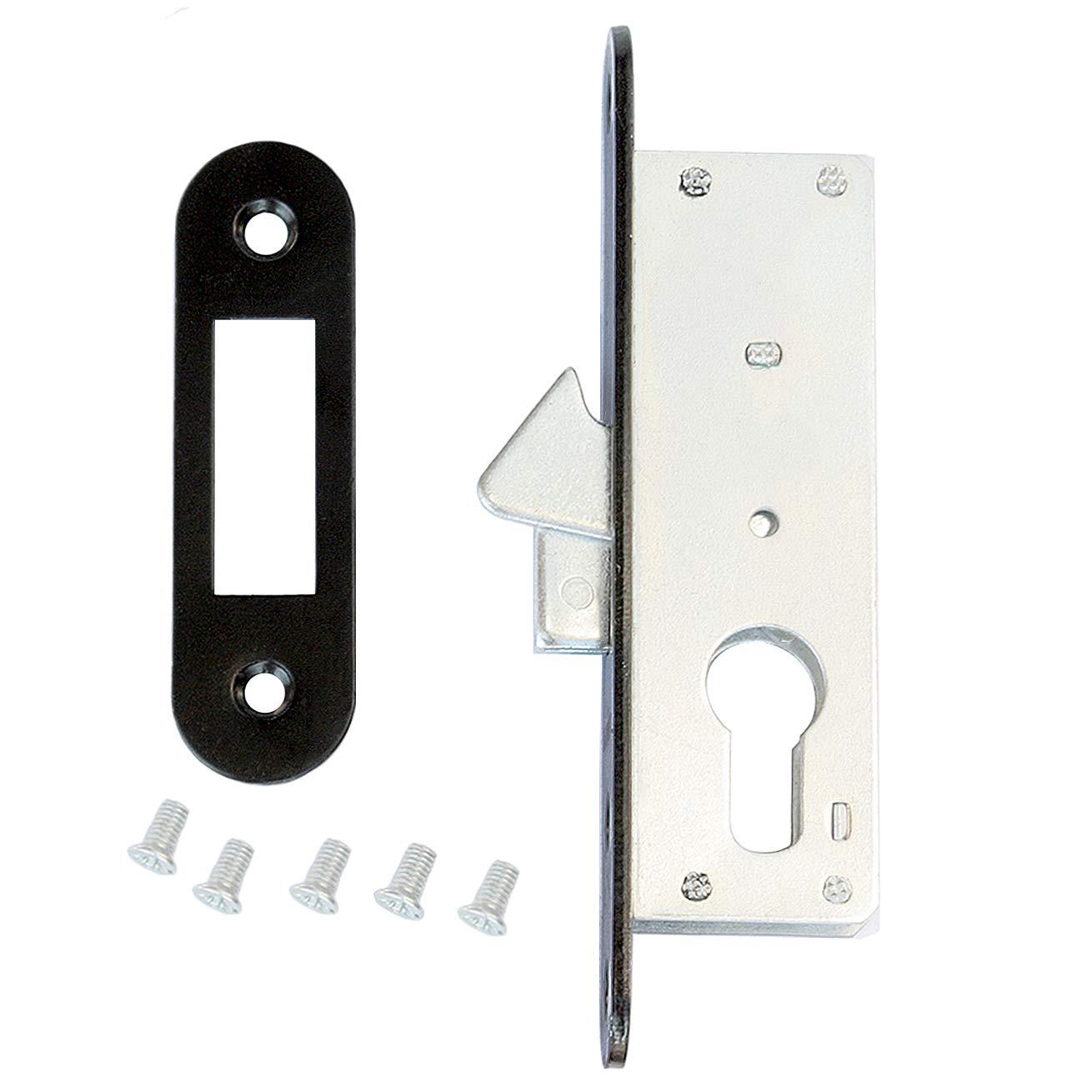 Cerradura de gancho para puerta corredera 35/22 con contraplaca para cil.: Amazon.es: Bricolaje y herramientas