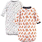 Hudson Baby Unisex Baby Cotton Long-Sleeve Wearable Sleeping Bag, Sack, Blanket, Foxes, 0-3 Months