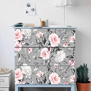 Ridewind Floral Self-Adhesive Stickers,Peel and Stick Furniture Stickers/Decals Pink Rose,Water-Resistant Cabinet Stickers Furniture Renovation Stickers Dresser Sticker,Removable Furniture Skin