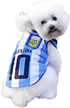 SymbolLife Dog Clothes Football T-shirt Dogs Costume National Soccer World Cup FIFA Jersey for Pet Argentina