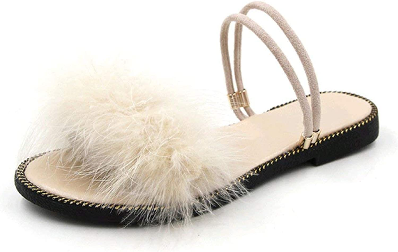 April With You Flat Beach Women's Sandals Hair Flip Flops Women Home Pulsh Flip Flops Outside Two Wear Rivet shoes