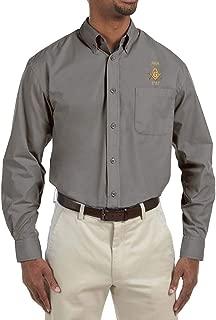 Prince Hall 1787 Embroidered Masonic Men's Poplin Button Down Dress Shirt