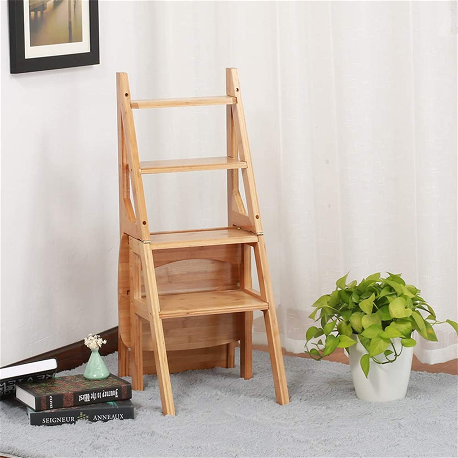 Geyao American Solid Wood Dualuse Staircase Chair Herringbone Ladder Folding Chair Home Multifunction Step Stool Fourlayer Climbing Ladder 40×37×89cm (color   B)