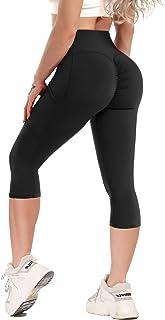 YOFIT Gym Leggings with Pockets Women High Waist Capri Trousers Yoga Pants Tummy Control Running Tights
