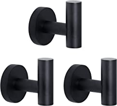 HouseAid Stainless Steel Towel Hooks for Bathroom Modern Heavy Duty Robe Hook Holder Wall Mounted Matte Black (3 Pack)