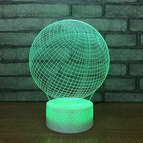 Lámpara de ilusión 3D LED noche luz bebé dormitorio cama de baloncesto modelado novedad lámpara de escritorio puertos USB accesorio creativo regalo-N8