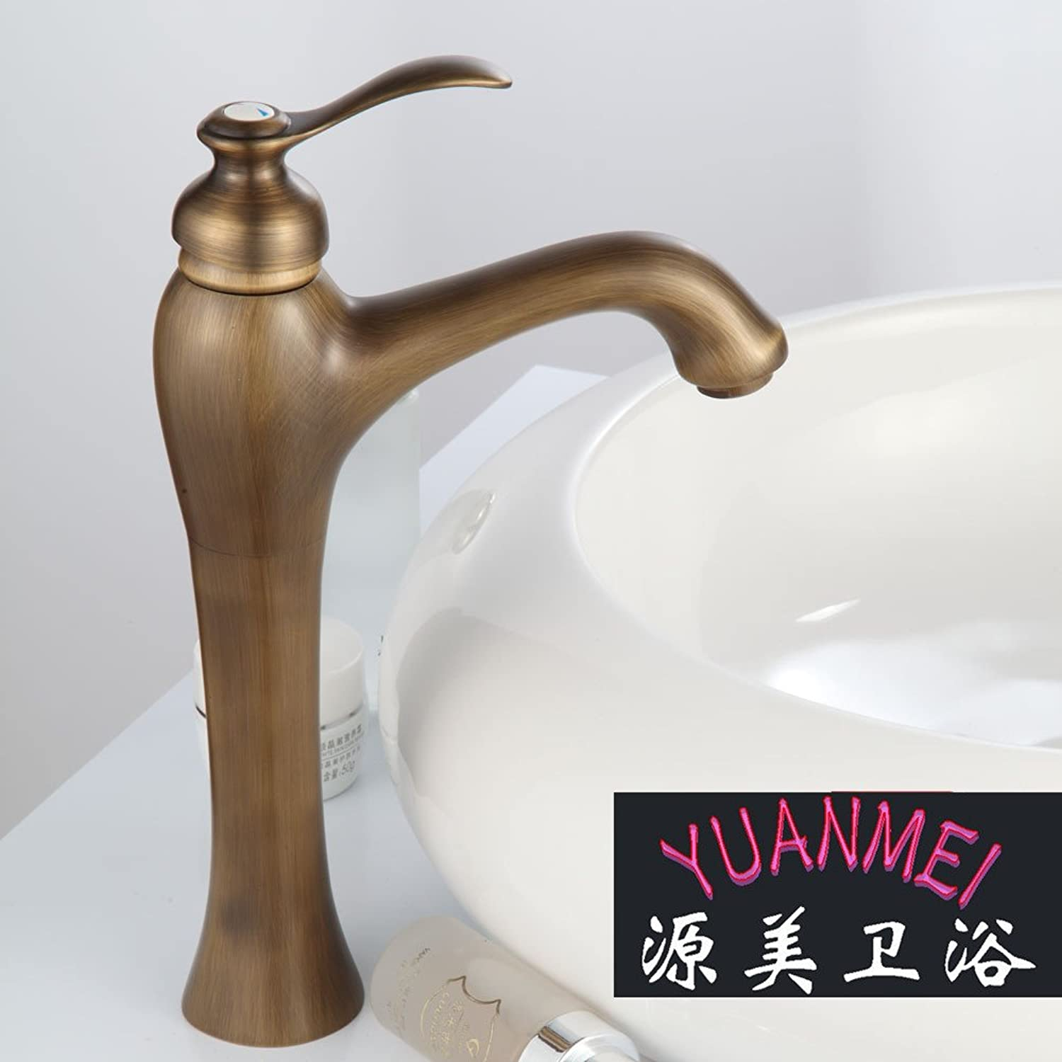 Commercial Single Lever Pull Down Kitchen Sink Faucet Brass Constructed Polished Antique Basin Faucet Washbasin European Antique Faucet Basin and Kitchen Dual Use