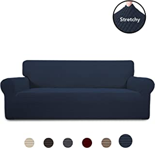 PureFit Stretch Sofa Slipcover – Spandex Jacquard Anti-Slip Soft Couch Sofa Cover, Washable Furniture Protector with Anti-Skid Foam and Elastic Bottom for Kids (Sofa, Navy)