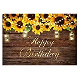 Funnytree Sunflowers Happy Birthday Party Backdrop Rustic Wood Floor Cake Table Banner Photography Background Milestone Decorations Photo Booth Supplies 7x5ft