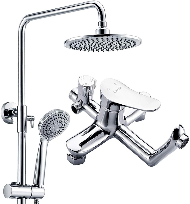 Round Shower Set, Three-speed Water Liftable Shower Column, Bathroom Shower Hand Shower (8-inch Nozzle)