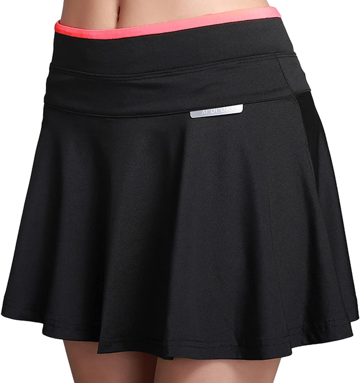 Phoebe's Ladies High Waist Sports Skirt Quick-Drying Breathable Tennis Skirt Lightweight Pleated Skirt