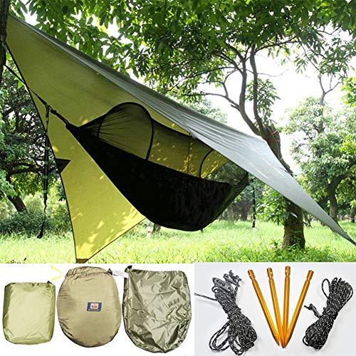 HAOCHI para Camping Al Aire Libre Senderismo Picnic Travel,Hamaca con Mosquito Net Rain Fly Tarp - Ultralight Parachute Nylon,Resistente A La Lluvia Y A Los Rayos UV A Prueba De Viento-Un 250x120cm