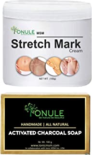 Ionule MSM Stretch Mark Cream with Activated Charcoal Soap for Men and Women Combo Pack of 2 - (2 X 90 gm)