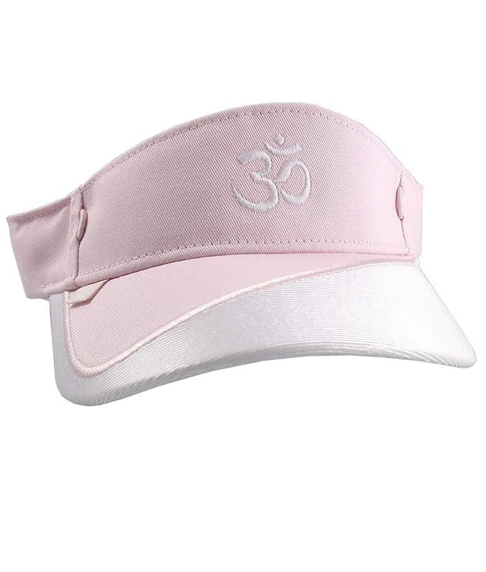 OM Spiritual Symbol Embroidery on a Pink and White Adjustable Visor Cap Elegant Fashion Sun Hat