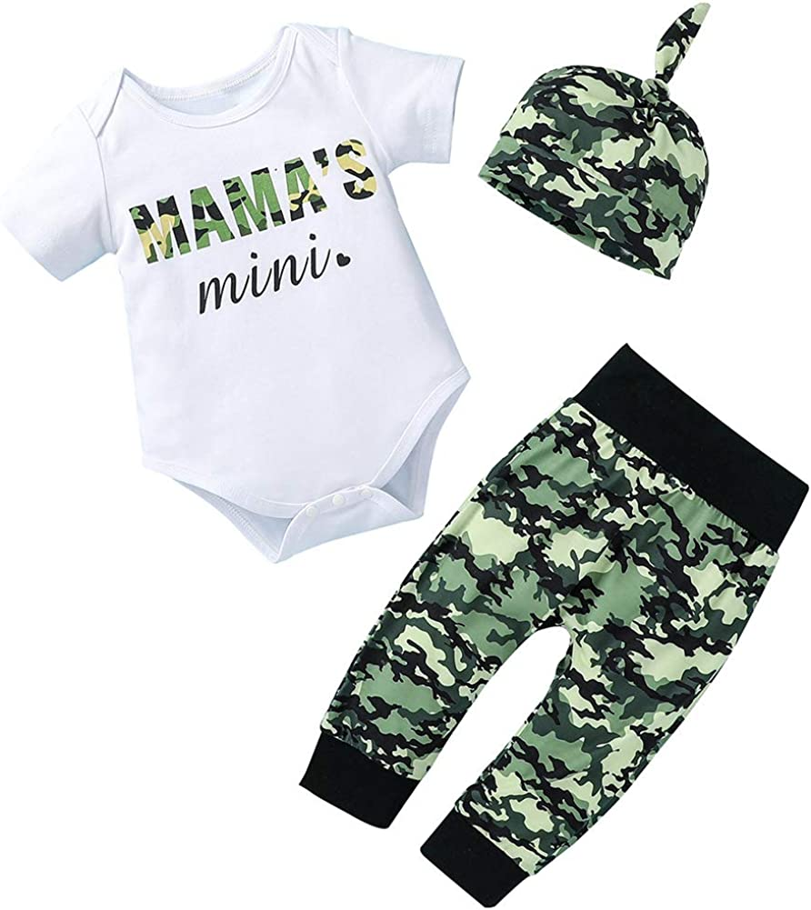Newborn Baby Boys 3pcs Outfit Short Sleeve Letters Romper Bodysuit Printing Pants and Hat Clothes Set