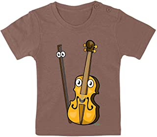 HARIZ Camiseta para bebé con diseño de violín sonriente (incluye tarjeta de regalo)
