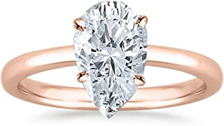 1.01 Carat 18K White Gold Pear Cut Solitaire Diamond Engagement Ring H-I Color SI1 Clarity