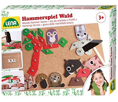 Lena 65829 Hammerspiel, Nagelspiel mit 64 bunten 7 Formen und 8 Wald Teilen, Grundplatte aus Kork ca. 28 x 19,5 cm, Hammer und Nägel, Klopfspiel für Kinder ab 3 Jahre, Hämmerchenspiel, Mehrfarbig