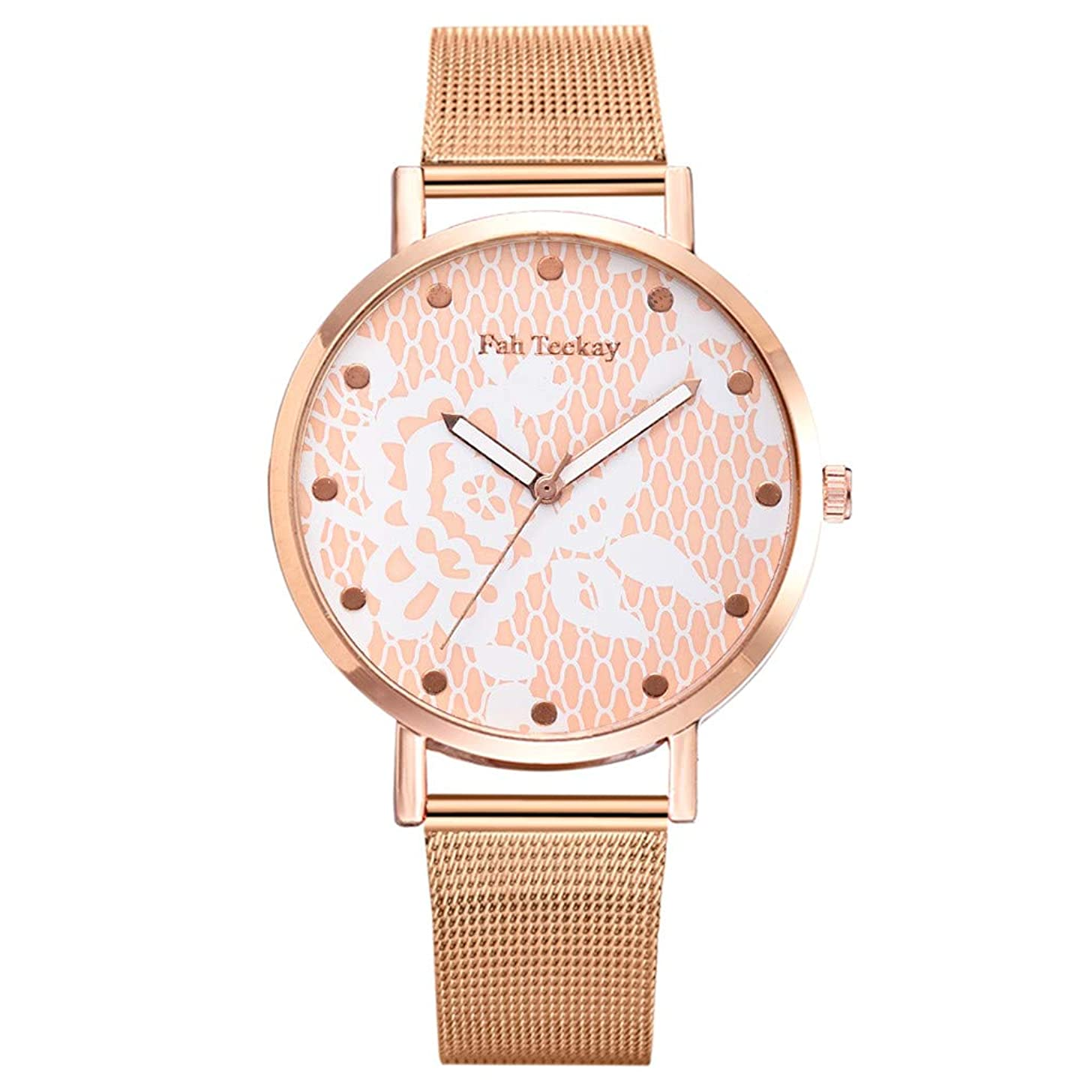 Women's Rose Gold Watch Floral Dial Analog Quartz Stainless Steel Mesh Magnetic Buckle Band