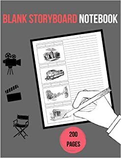 Blank Storyboard Notebook: Storyboard notebook, 8.5 x 11 perfect size and 200 pages with panels, for writing, sketching, f...