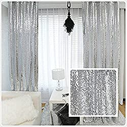 Silver Sequin Curtains Drape Panels Backdrops