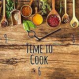 Wanduhr aus Glas für die Küche, Spruch: Time to Cook, Holzoptik mit Löffeln mit Gewürzen, 30x30 cm von Eurographics