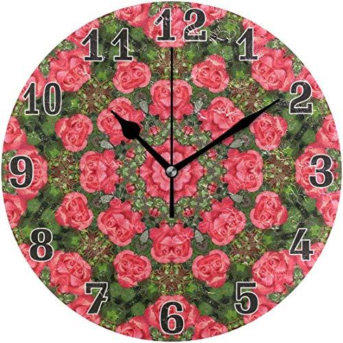 154ytujbgvas Geometric Floral Flower Rose Round Acrylic Wall Clock, Silent Non Ticking Art Painting Clock for Kids Girls Children Bedroom Living Room School Home Decor 10in