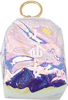 MOONRINGJPムーンホログラフィックスウィートコインバッグ光沢のあるクールジッパーホルダーPUレザーミニバックパックスタイルハンドルキーホルダー財布