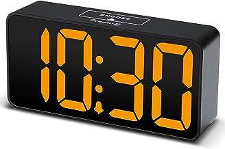 DreamSky Compact Digital Alarm Clock with USB Port for Charging, Adjustable Brightness Dimmer, Bold Digit Display, 12/24Hr...