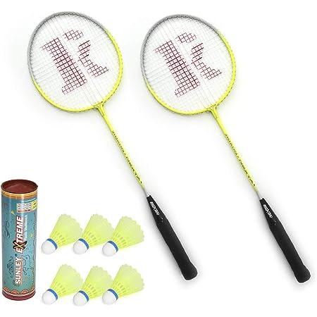SUNLEY Nexta Badminton Steel Racket (Set of 2) with 6 Piece Nylon Shuttle.