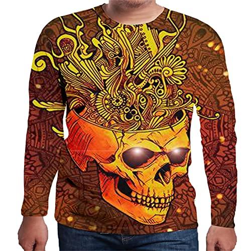 NUSGEAR 3D Totenkopf Print Rundhals Langarm Herren T-Shirt Herren Top Pullover Langarm Shirts Atmungsaktiv Casual Langärmliges Tops Regular Slim Fit Henley Shirt Vintage Sportlich Pullover T-Shirts