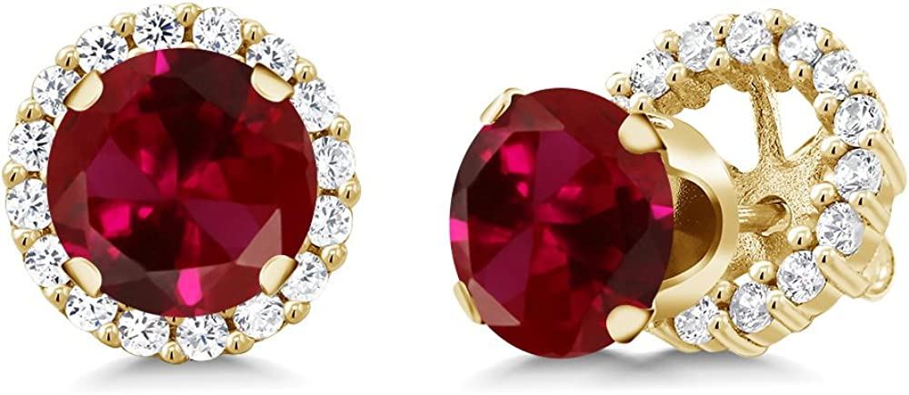Gem Stone King 3.54 Ct Round Arlington Mall Red Yellow High order Ruby 925 Gold Pl Created