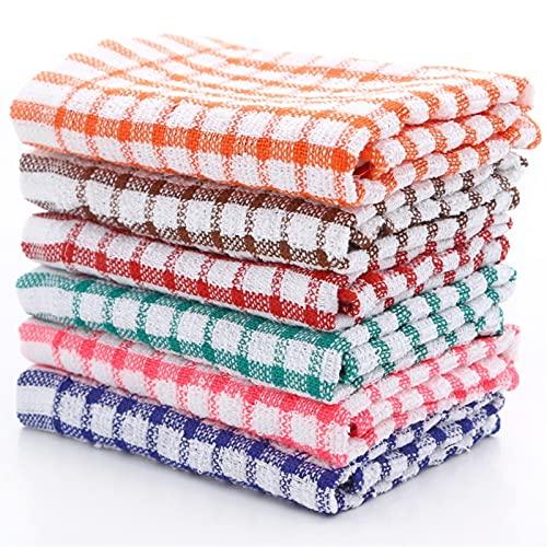 6 unids Limpieza de plato Tela Tela Tela Plaid Toalla de algodón Absorbente Handkerchief Toalla de la toalla de la Cocina Gadget Suplementos