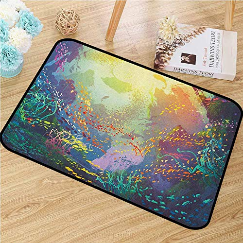 GUUVOR Sea Animals Welcome Door mat Underwater with Coral Reef and Colorful Fish Aquarium Artistic Print Door mat is odorless and Durable W29.5 x L39.4 Inch Turquoise Yellow Pink