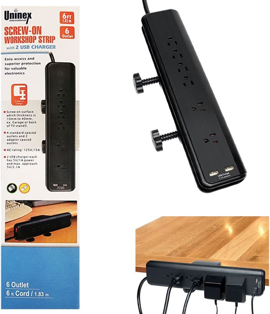 Desk Mountable OFFer Power Strip 6ft Cord 2 Ports Outlets S 2.1A Max 89% OFF 6 USB
