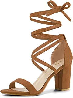 Allegra K Women's Open Toe Lace Up Chunky High Heel Sandals