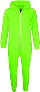Kids Girls Boys Plain Color Fleece Hooded Onesie All in One Jumpsuit 5-13 Years