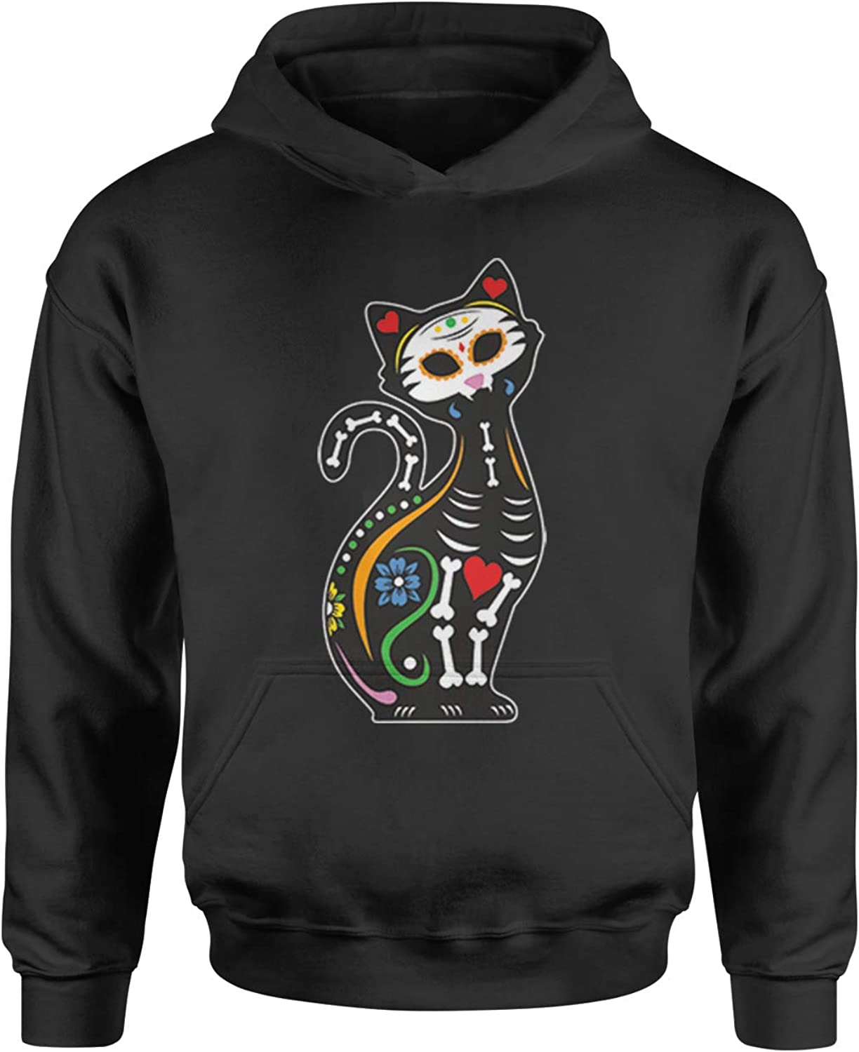 Expression Tees Skeleton Cat Day of The Dead Youth-Sized Hoodie