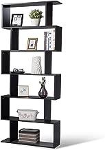 Tangkula 6 Shelf Bookcase, Modern S-Shaped Z-Shelf Style Bookshelf, Multifunctional Wooden Storage Display Stand Shelf for Living Room, Home Office, Bedroom, Bookcase Storage Shelf (Black)