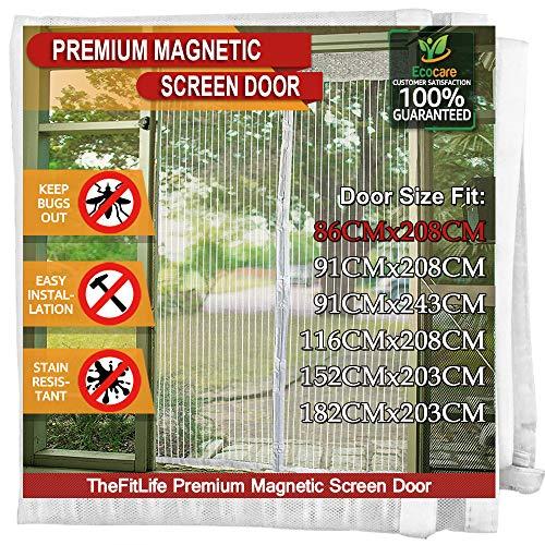 TheFitLife Cortina Mosquitera magnética para Puertas - Malla con cierre de gancho y bucle e imanes potentes que cierran instantáneamente, dejando todos los instectos fuera. (92x210cm, Blanco)