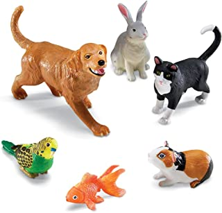 Learning Resources Jumbo Domestic Pets, Cat, Dog, Rabbit, Guinea Pig, Fish and Bird, 6 Animals, Ages 2+