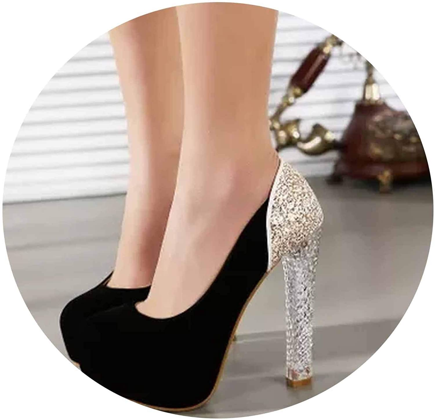 Crystal Thick with high Heels Autumn Simple Women's shoes Sexy high-Heeled Single shoes